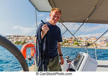 övé, luxery, figyelmetlen ember, csónakázik, vitorlázik, jacht, travel., vezérmű, megüresedések, race., tenger, kaland, vitorlázás, hajó, ember