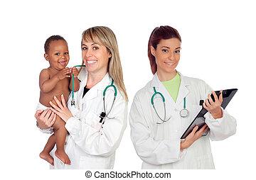 övé, orvosi, egy, türelmes, gyermekgyógyászati, befog