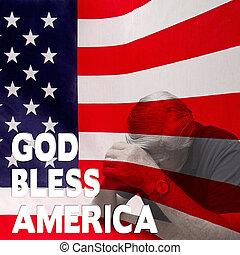 övé, usa, ország, -, kultúrprogram-szervező tiszt, imádkozás, ember