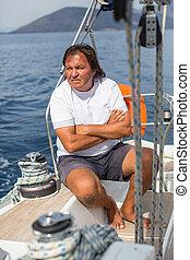 övé, vitorlázás, szünidő, vitorlázik, travel., yacht., érett, őt ül, ember
