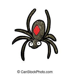 özvegyasszony, fekete, karikatúra, pók
