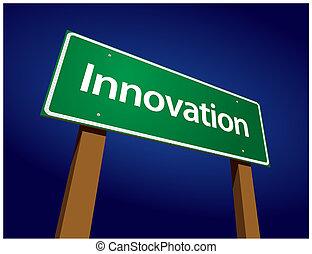 újítás, zöld, út, ábra, aláír
