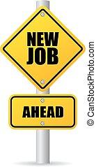 új állás, út cégtábla
