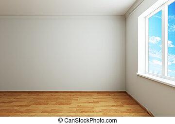 új, ablak, szoba, üres