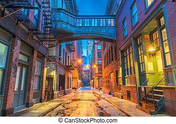 új, alleyways, york, város