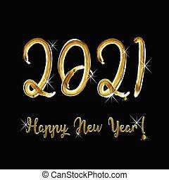 új, boldog, év, 2021