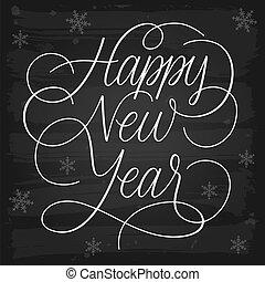 új, boldog, köszöntések, chalkboard, év