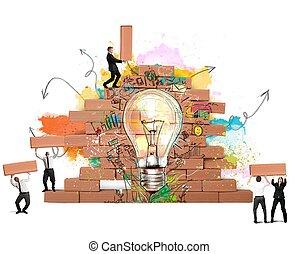 új, bulding, gondolat, kreatív