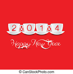 új, csészék, boldog, év