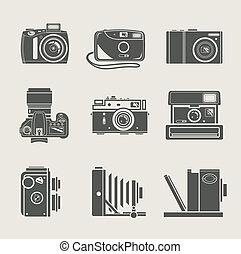 új, fényképezőgép, retro, ikon