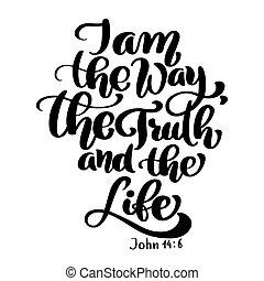 új, igazság, bibliai, fehér, testament., vers, vektor, elszigetelt, jános, keresztény, háttér, 6., ábra, kéz, felirat, 14, háttér., irány, élet