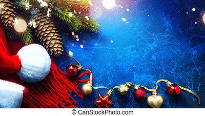 új, köszönés kártya, háttér, karácsony, művészet, vidám, év, boldog