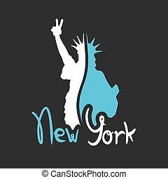 új, kedves, jelkép, york