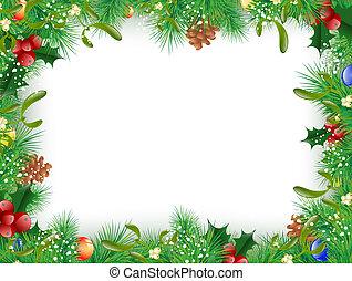 új, keret, karácsony, év