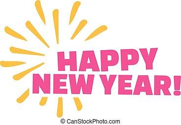 új, tűzijáték, boldog, év