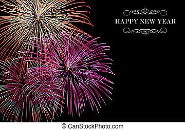 új, tűzijáték, boldog, háttér, év