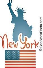 új, usa, jelkép, york