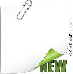 új, vektor, paperclip, sarok