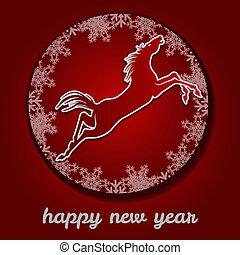 új, year., ugrás, horse., boldog