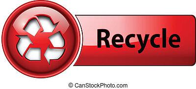 újra hasznosít, button., ikon
