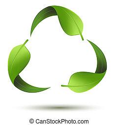 újra hasznosít jelkép, levél növényen