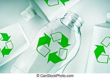újra hasznosít jelkép, tároló, műanyag