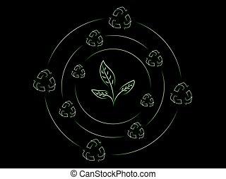 újra hasznosít, zöld, körülvett, fonás, ikonok