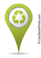 újrafelhasználás, zöld, elhelyezés, ikon
