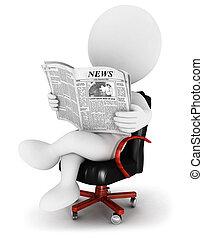 újság, fehér, 3, emberek