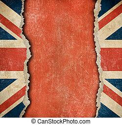 újság lobogó, szakadt, grunge, brit