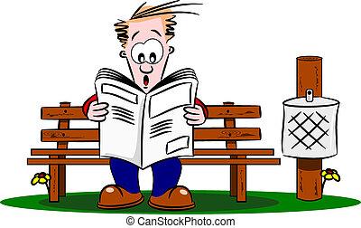 újság, pasas, felolvasás, karikatúra