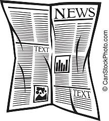 újság, vektor, ikon