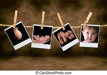 újszülött, csecsemő, polaroid, odaköt, fénykép, shots, függő, terhesség, ruhaszárító csipeszek