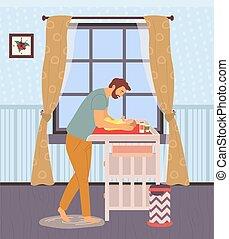 újszülött, gyermek, atya, törődik, asztal, csecsemő