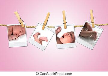 újszülött, shots, odaköt, függő, ruhaszárító csipeszek, csecsemő