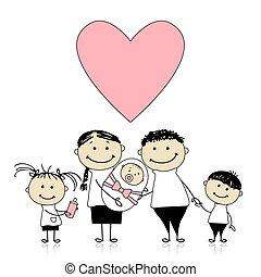 újszülött, szülők, kézbesít, csecsemő, gyerekek, boldog