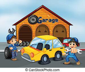 úriemberek, garázs, eszközök, két