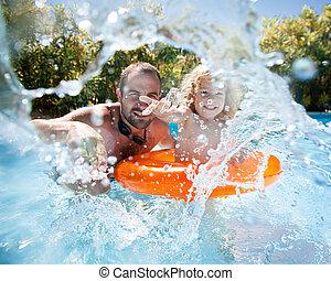úszás, atya, pocsolya, gyermek