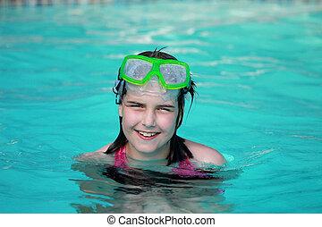úszás, boldog, pocsolya, gyermek