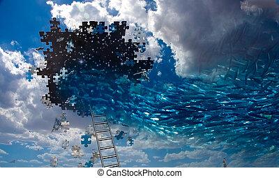 úszás, fish, ég, kilyukaszt