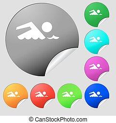 úszás, gombok, multi-, állhatatos, színezett, wave., jelkép., aláír, vektor, nyolc, tenger, icon., stickers., kerek, pocsolya, úszás