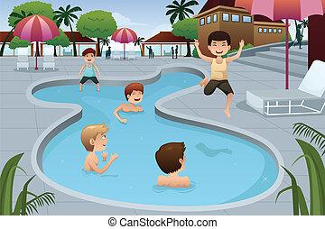 úszás, külső, játék tavacska, gyerekek