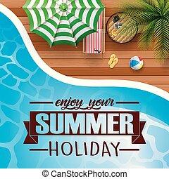 úszás, nyár, pocsolya, háttér, esernyő