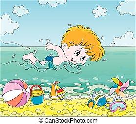 úszás, tengerpart, fiú, víz
