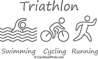 úszás, triathlon, symbols., kerékpározás, futás, számolás, athletes., vázlat