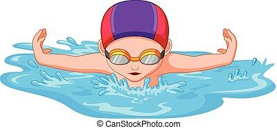 úszó, sport, úszik verseny, közben