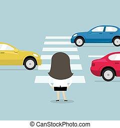 út, üzletasszony, várakozás, crosswalk., kereszt