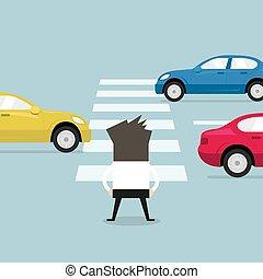 út, crosswalk., várakozás, kereszt, üzletember