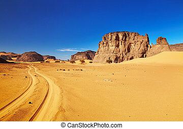 út, dezertál, algéria, szahara, tadrart