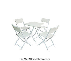 út, erdő, elszigetelt, elnökké választ, állhatatos, asztal, háttér., kert, clippiing, fehér